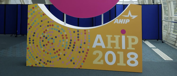 Sign at the conference AHIP 2018.