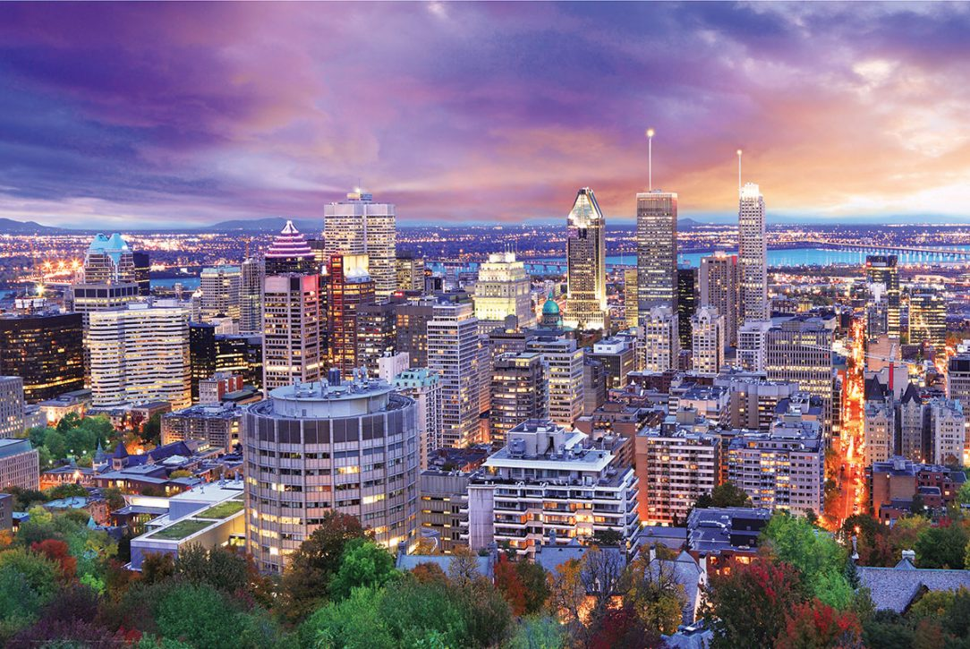 A birds eye view on a montreal skyline