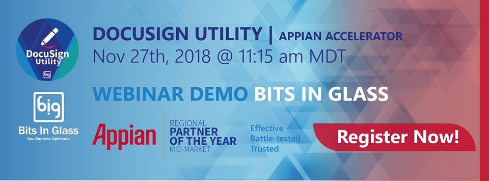 A graphic banner of the Appian AppMarket webinar that Bits In Glass will be hosting.