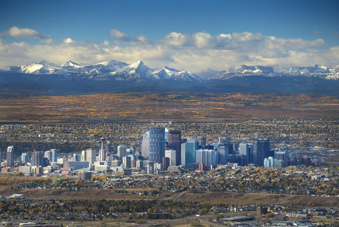 Calgary Skyline with the Rocky Mountains in the background