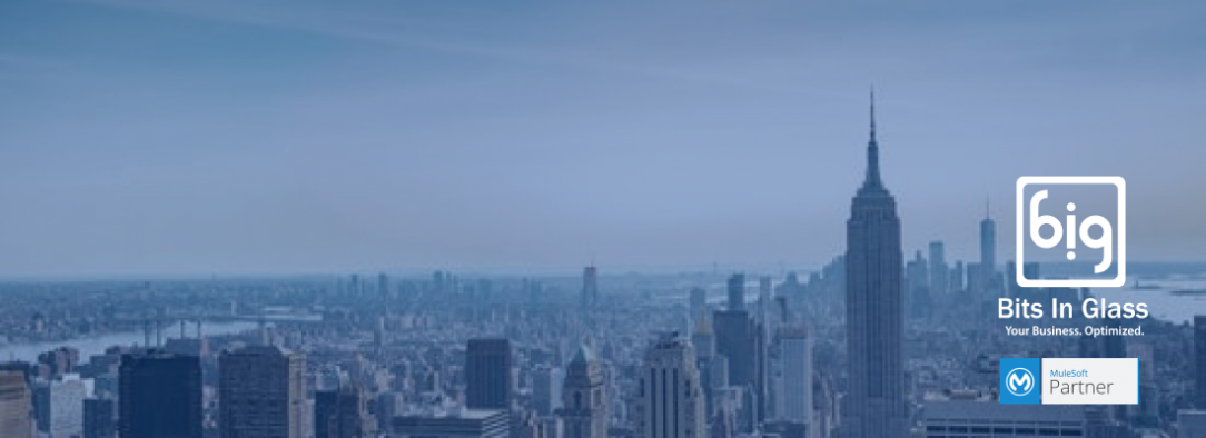 New York City Skyline with the BIG and MuleSoft logos