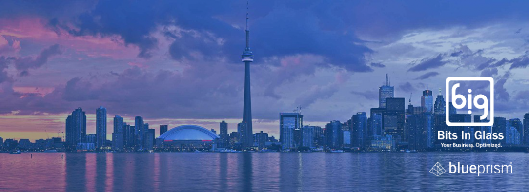 Toronto skyline with Bits In Glass and Blue Prism logo