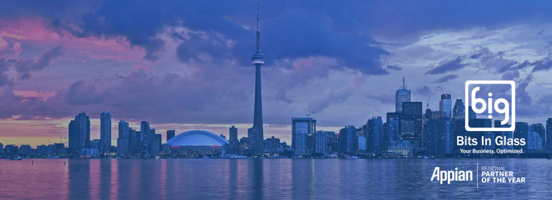 Toronto skyline with Bits In Glass and Appian logo