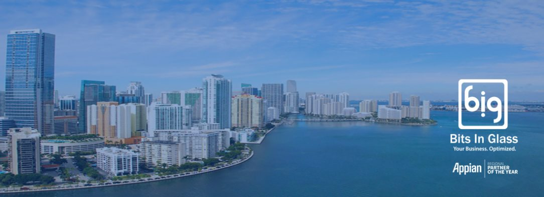 Miami skyline with Bits In Glass and Appian logos